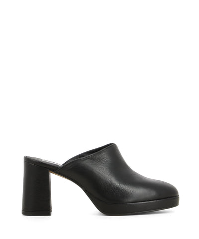 Black patent leather platform mules that features a block heel and a round toe by Lokas.