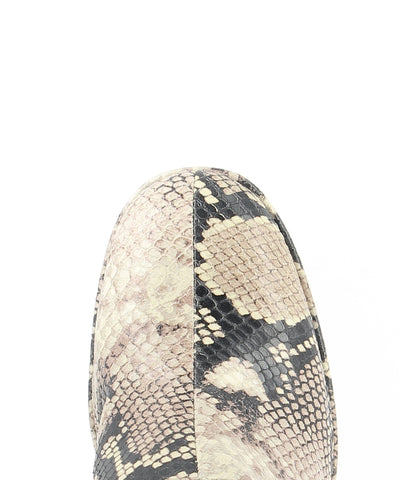 Natural snakeskin printed leather platform mules that features a block heel and a round toe by Lokas.
