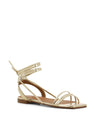 Italian made strappy gold sandals that have a strappy ankle tie fastening and features a short block heel and an open square toe by Christian Di Riccio.