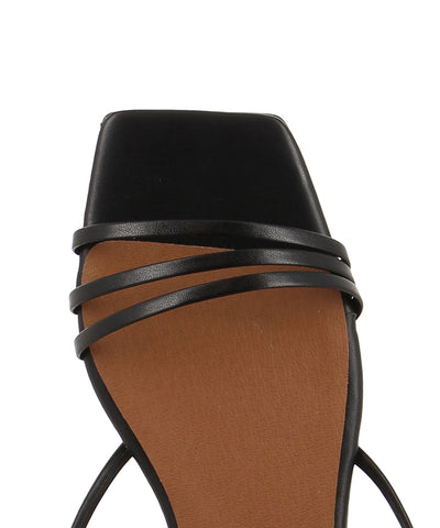 Italian made strappy black sandals that has a strappy ankle tie fastening and features a short block heel and an open square toe by Christian Di Riccio.