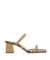Stylish taupe leather heeled sandals that features a snakeskin effect inner sole, a block heel, and square toe by Sempre Di.