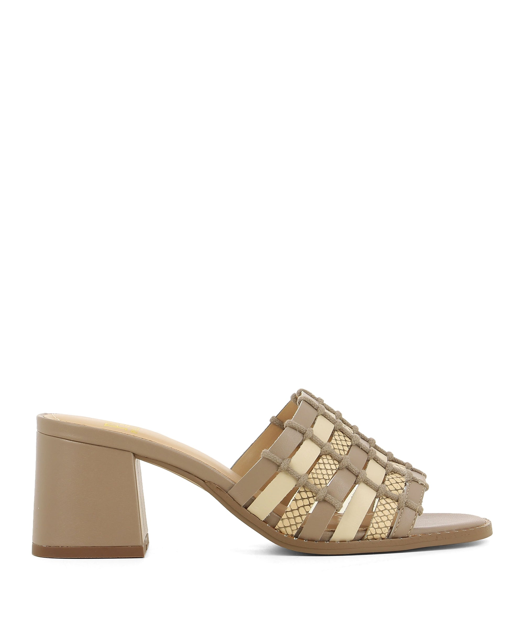 Intricate neutral leather mules that feature a woven multi coloured leather and textile upper, a block heel and a soft square toe by Piazza Grande.