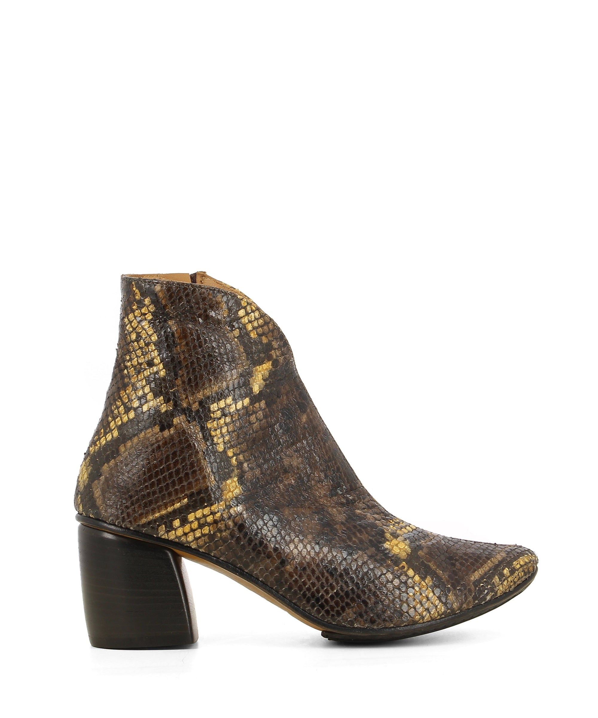 A brown snake skin Italian leather ankle boot that has a side zipper fastening and features a block heel and a curved almond toe by 2 Baia Vista.
