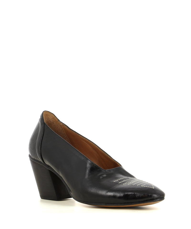 A black Italian leather western style court shoe with a Cuban style heel, feature style and an almond toe.