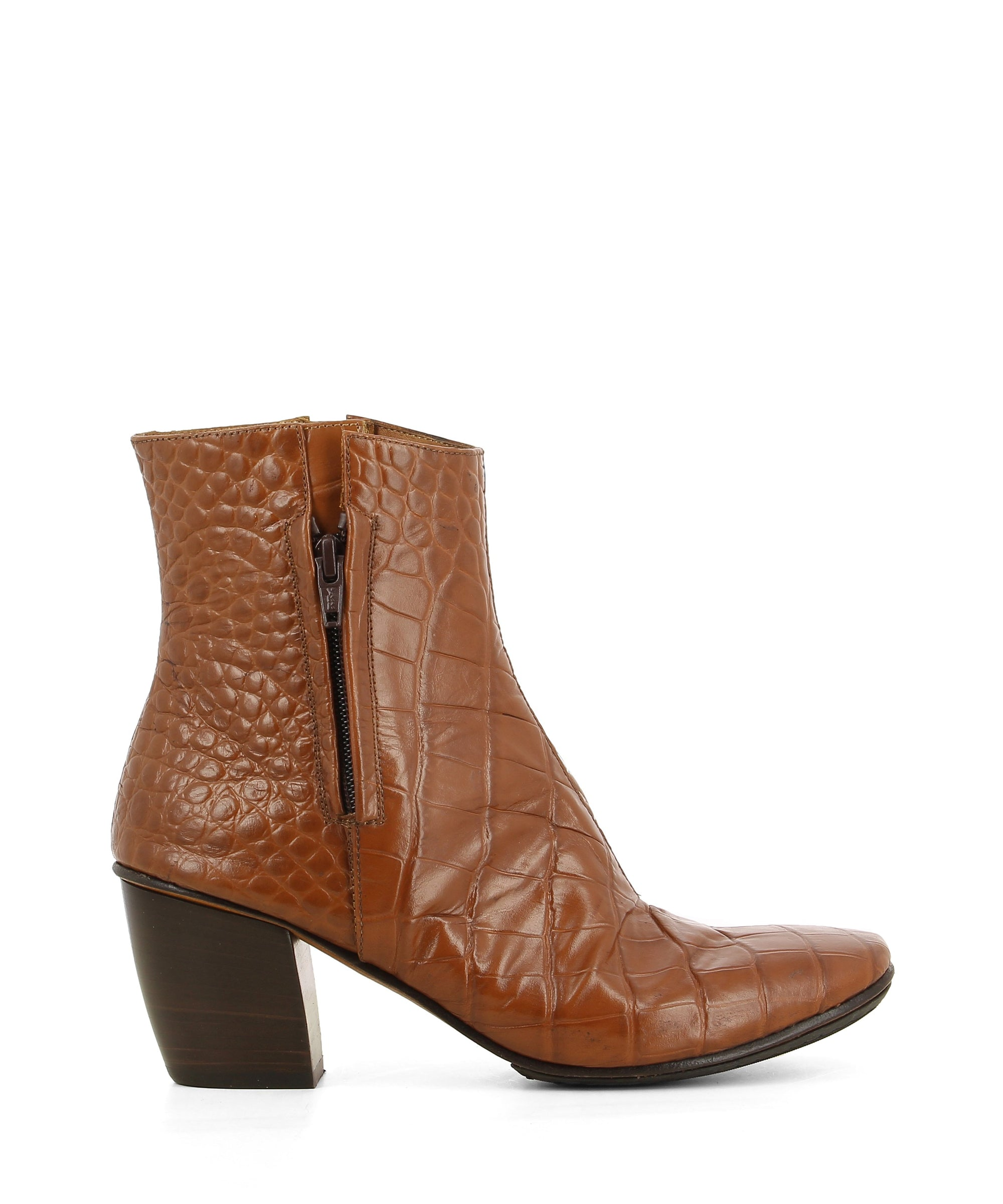 A tan croc leather Italian made ankle boot that has dual zipper fastening and features a 6cm block heel and a soft square toe by 2 Baia Vista.