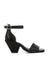 Black leather heeled sandals that have an ankle strap with a silver buckle fastening and features an embossed croc skin texture to the upper, a v-shaped block heel, and a square toe by Sempre Di.