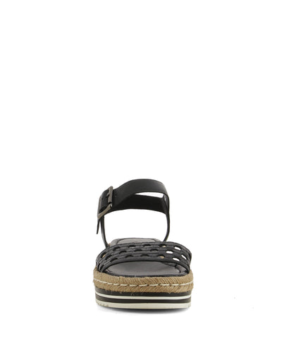 A stylish black leather sandal that has an ankle strap with a silver buckle fastening, and features a braided jute trim, a platform sole and an open round toe by Django & Juliette.