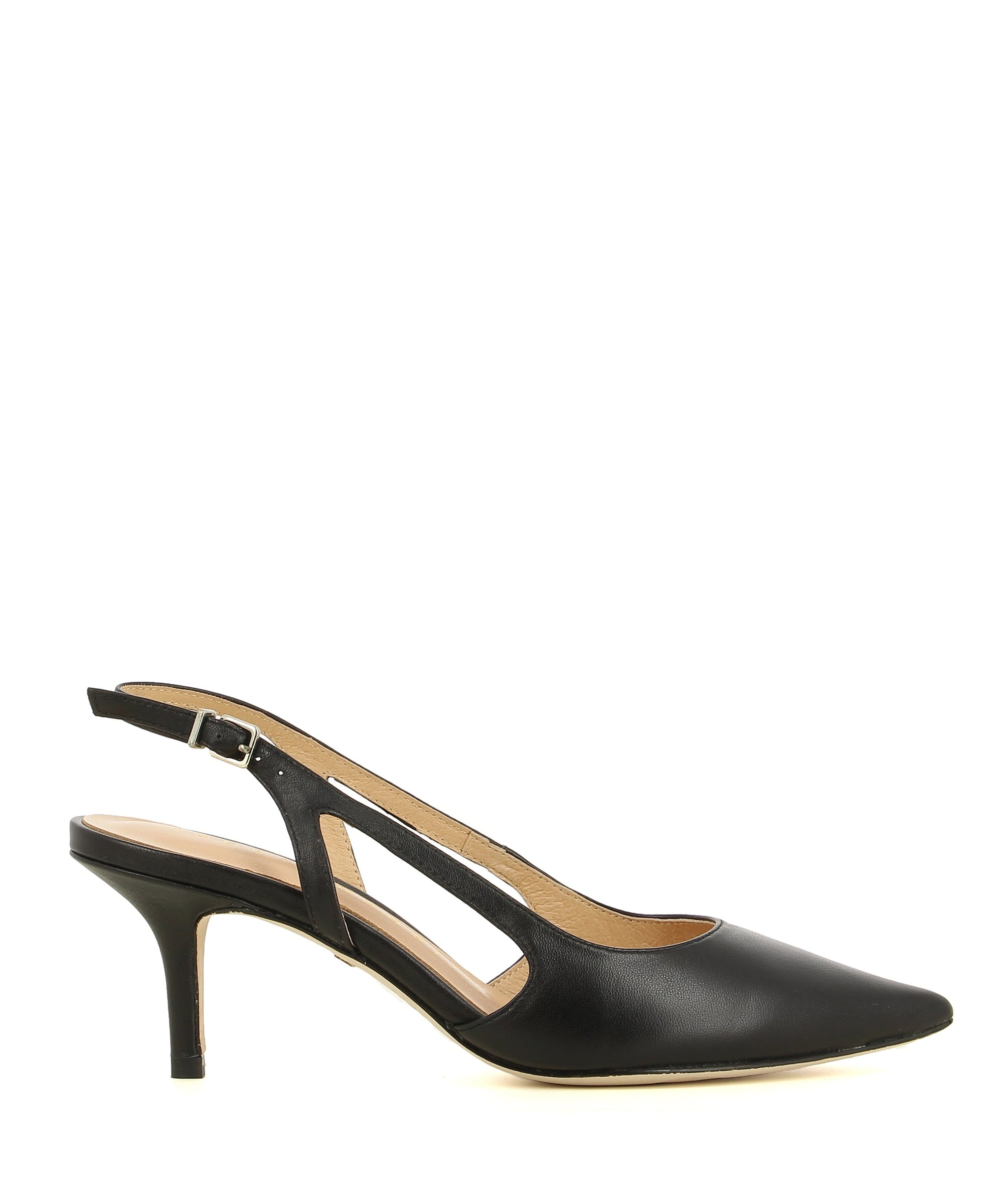 A stylish black leather pump by Robert Robert. The 'Cleo' features a slingback strap with a buckle fastening, cut out sides, and a pointed toe.