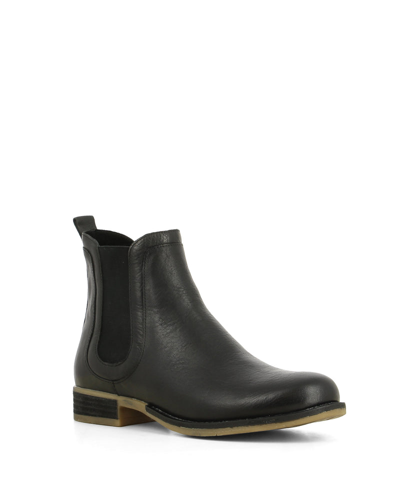 A black leather Chelsea boot that features a low 2cm block heel and a round toe by Django & Juliette.