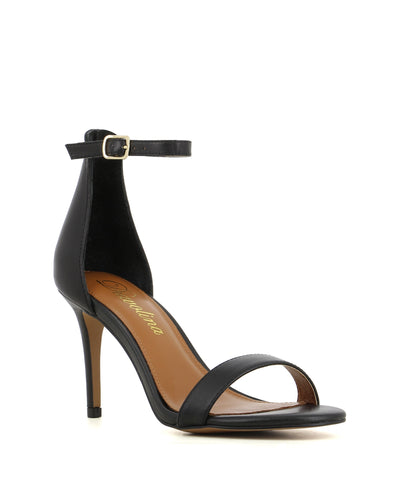 A chic black leather high heeled sandal by Diavolina. The 'Dejavu' has an ankle strap with a buckle fastening and features a stiletto heel and a soft round toe.