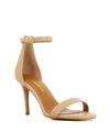 A nude leather high heeled sandal by Diavolina. The 'Dejavu' has an ankle strap with a buckle fastening and features a stiletto heel and a soft round toe.