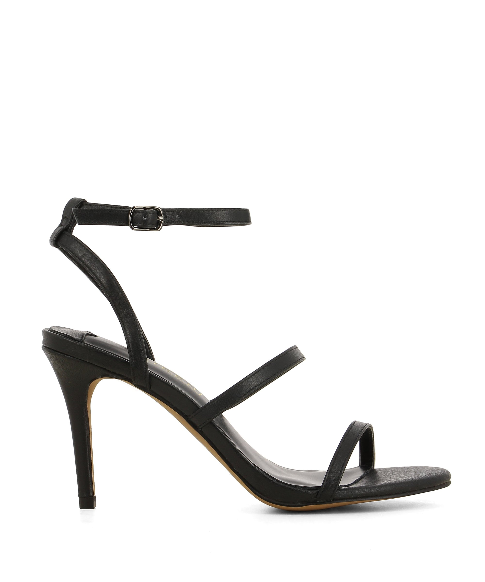 Black leather strappy heeled sandals that have a silver buckle fastening and features a 9 cm stiletto heel and a round toe by Siren.