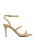 Beige leather strappy heeled sandals that have a silver buckle fastening and features a 9 cm stiletto heel and a round toe by Siren.