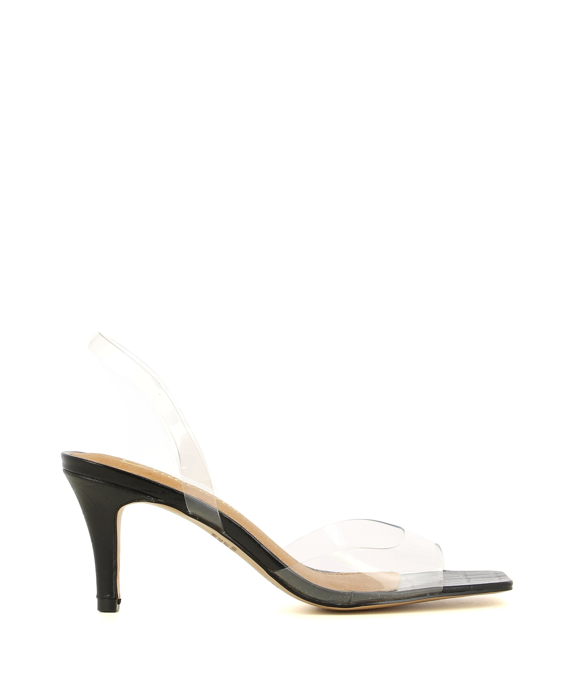 A chic and simple sling back heel by Diavolina. The 'Dutch' features a clear PVC upper, croc print sole, square toe and a black leather stiletto heel.