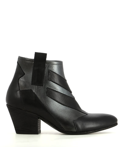 Italian made, black leather ankle boots that have inner zipper fastening and features a subtle metallic finish to the upper, contrast panel detailing, a 6 cm block heel and an almond toe by Elena Iachi.