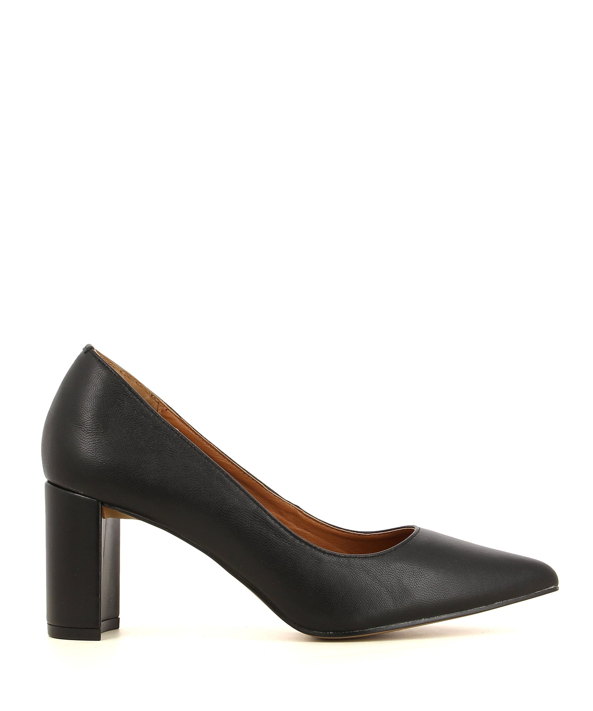 A black leather pointed toe pump by Diavolina. The 'Envy' features a block heel and a pointed toe.