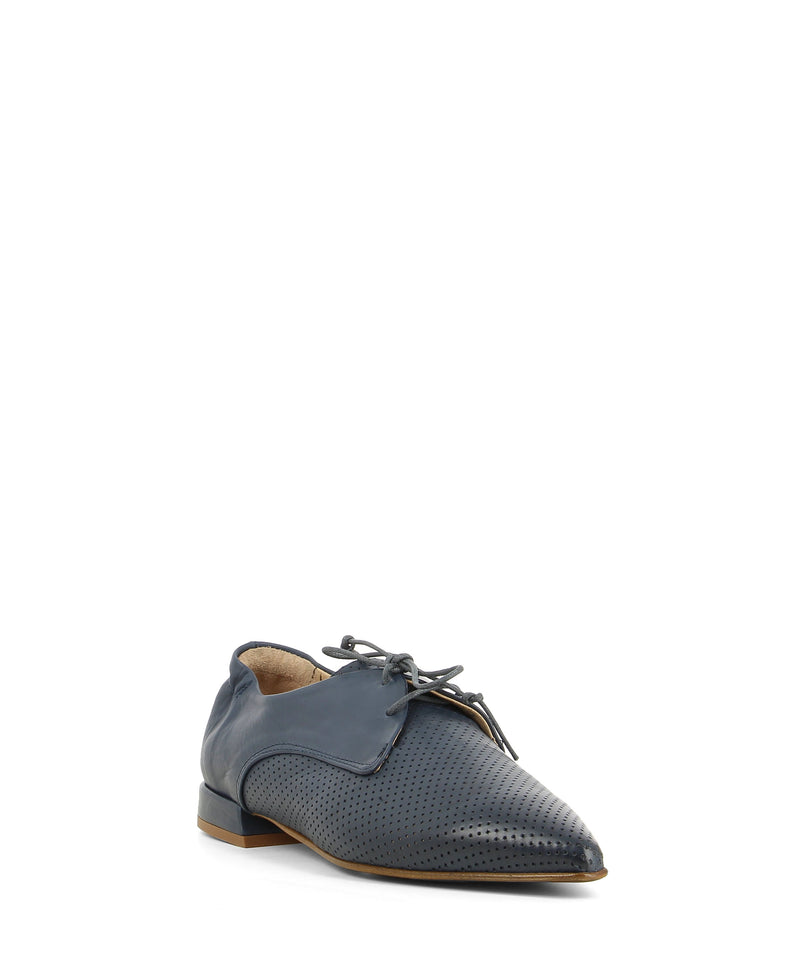 A light dusty blue leather pointed toe derby shoe that has lace up fastening and features a perforated upper and a 1.5cm block heel by 2 Baia Vista.