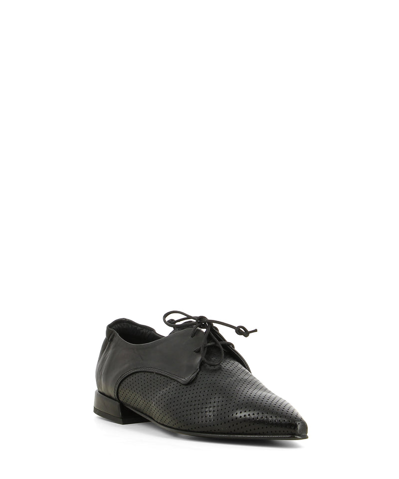 A black leather pointed toe derby shoe that has lace up fastening and features a perforated upper and a 1.5cm block heel by 2 Baia Vista.