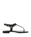 A chic and simple black leather sandal that has an ankle strap with a silver buckle fastening and features a short block heel and an open square toe by 2 Baia Visra