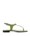 A chic and simple green leather sandal that has an ankle strap with a silver buckle fastening and features a short block heel and an open square toe by 2 Baia Vista