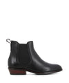 A black leather low heel Chelsea boot that features a red 2cm block heel and a round toe by Sempre Di.