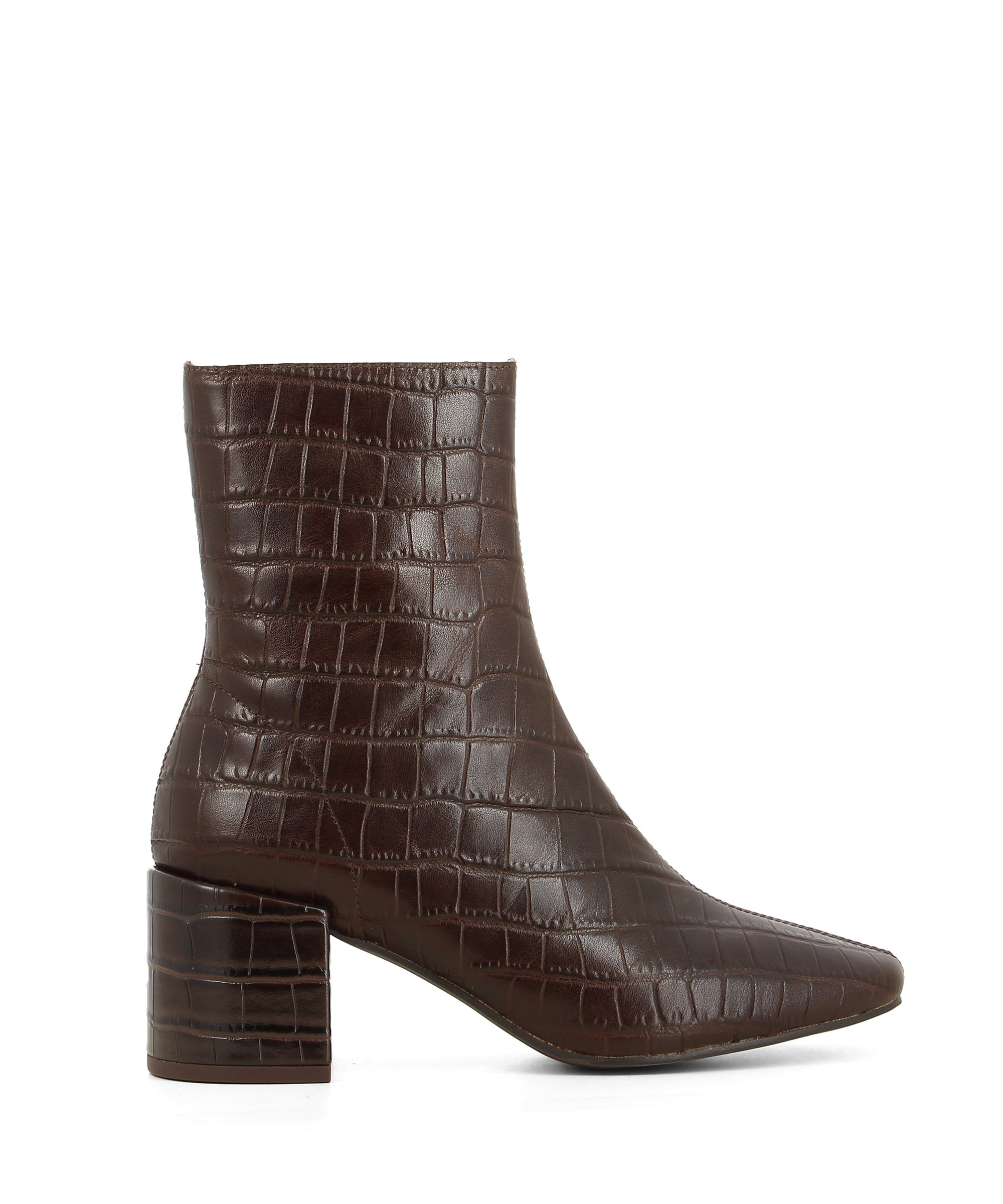 A brown croc leather block heel ankle boot. Made by Jeffrey Campbell. This style runs true to size.