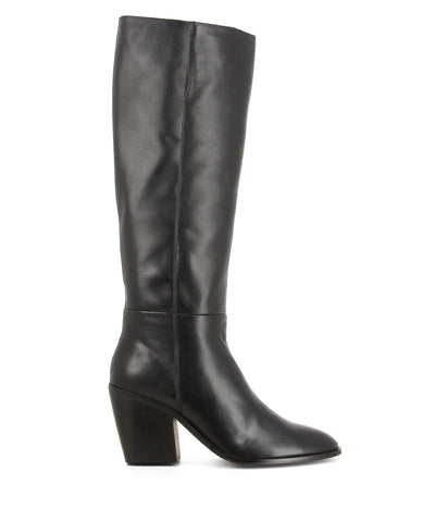 Gooseberry Black - Black leather pull-on knee-high boots that feature a 8 cm block heel and a round-almond-shaped toe by Marcus B.