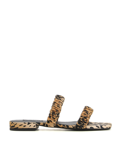 A cheetah print satin sandal by Senso. The 'Harley' features ruched satin straps, and a square toe.