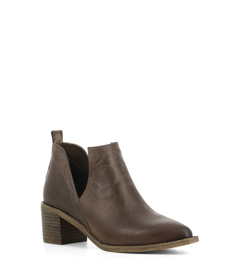 A pull on choc brown leather ankle boot that features cut out side gussets, a stacked 5cm block heel and a squared-off pointed toe by Django & Juliette.