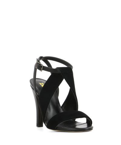 A dressy black suede sandal by ZOMP. The 'Jilian2' features an ankle strap with a buckle fastening and an oval toe.