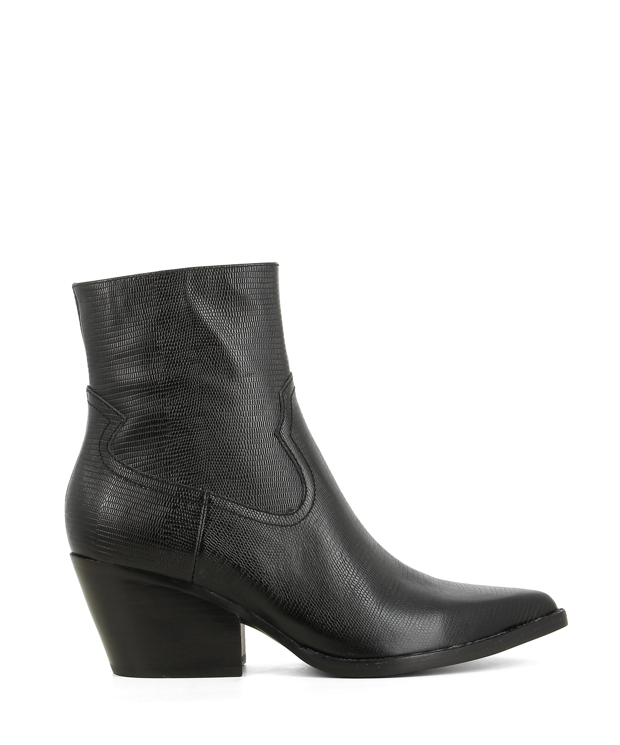 A black leather Western style ankle boot with zipper fastening, and features a lizard texture to the upper, a block heel and a pointed heel by Jeffrey Campbell.