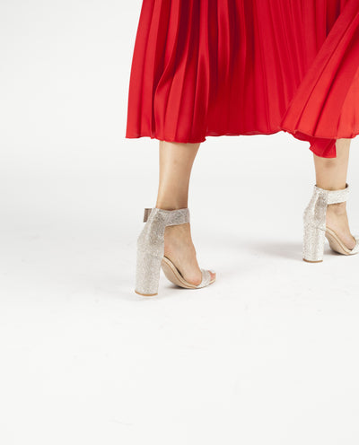 Jeffrey Campbell's 'Lindsay' - a nude and silver embellished block-heeled sandal featuring a Velcro fastening and a round toe.