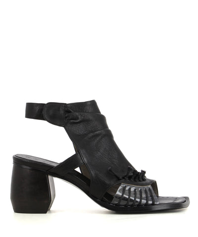 A black Italian leather sandal that has stud fastening and features a block heel and a square toe.