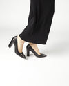 A classic black leather court shoe by ZOMP. The 'M502' features a high block heel and a pointed toe.