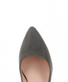A classic grey suede leather court shoe by ZOMP. The 'M502' features a block heel and a pointed toe.