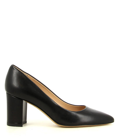 A classic black leather court shoe by ZOMP. The 'M503' features a mid height block heel and a pointed toe.
