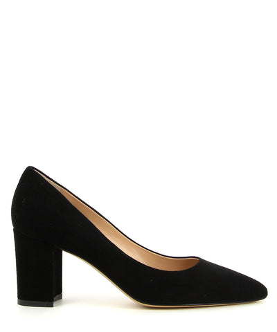 A classic black suede leather court shoe by ZOMP. The 'M503' features a mid height block heel and a pointed toe.