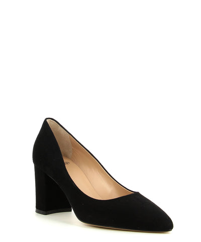 A classic black suede leather court shoe by ZOMP. The 'M503' features a block heel and a pointed toe.