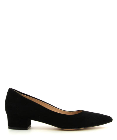 A classic black suede leather court shoe by ZOMP. The 'M504' features a low block heel and a pointed toe.