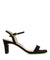 A black suede heeled sandal featuring a soft square toe, an ankle strap fastening and a 7.5cm block heel. Made by Unisa.