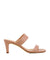 Simple dusty pink leather sandals that features a thin rectangle heel and a square toe by Unisa.