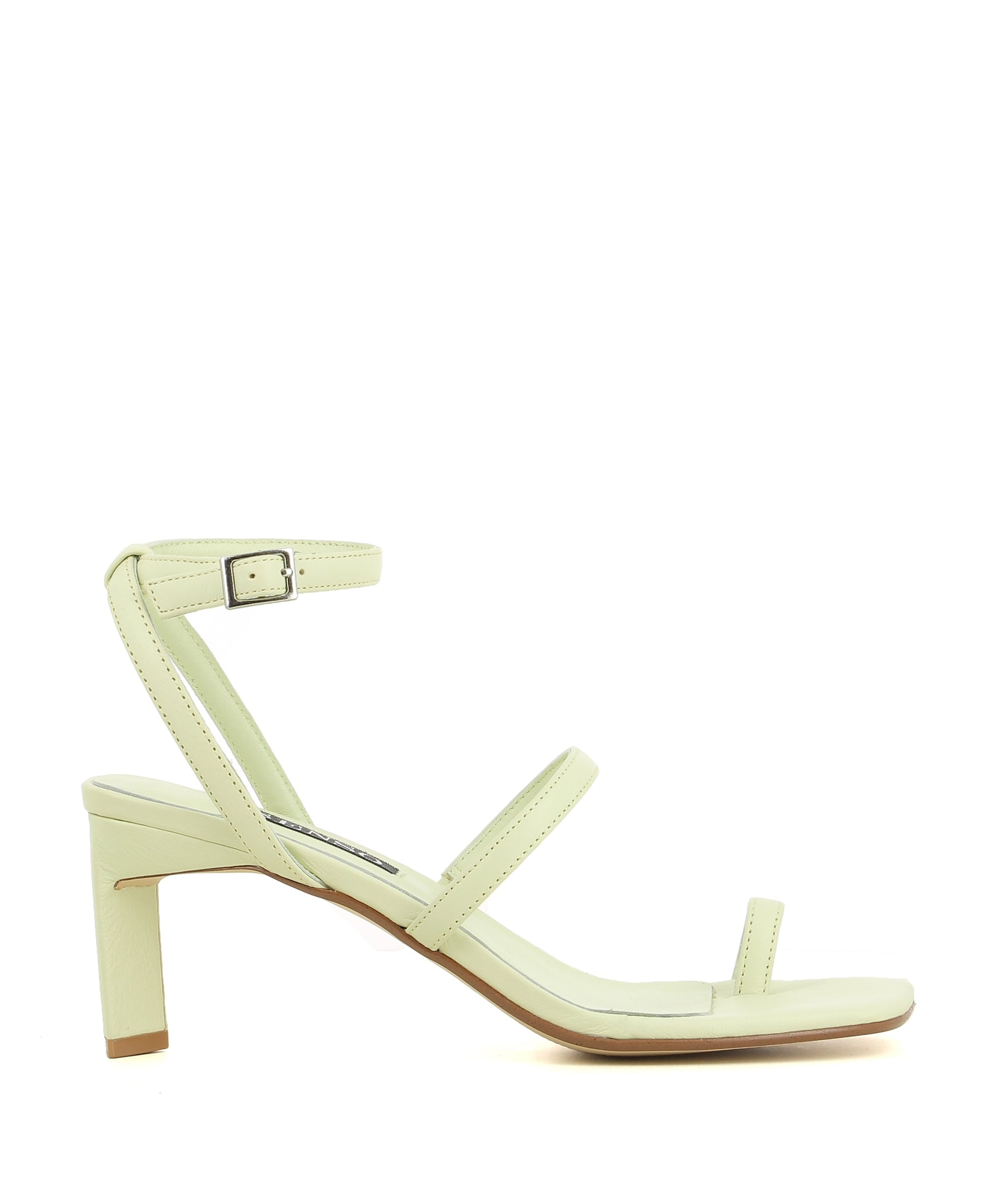 A chic pastel lime green leather strappy sandal by Senso. The 'Millie' has a silver buckle fastening and features an architectural heel and a square toe.