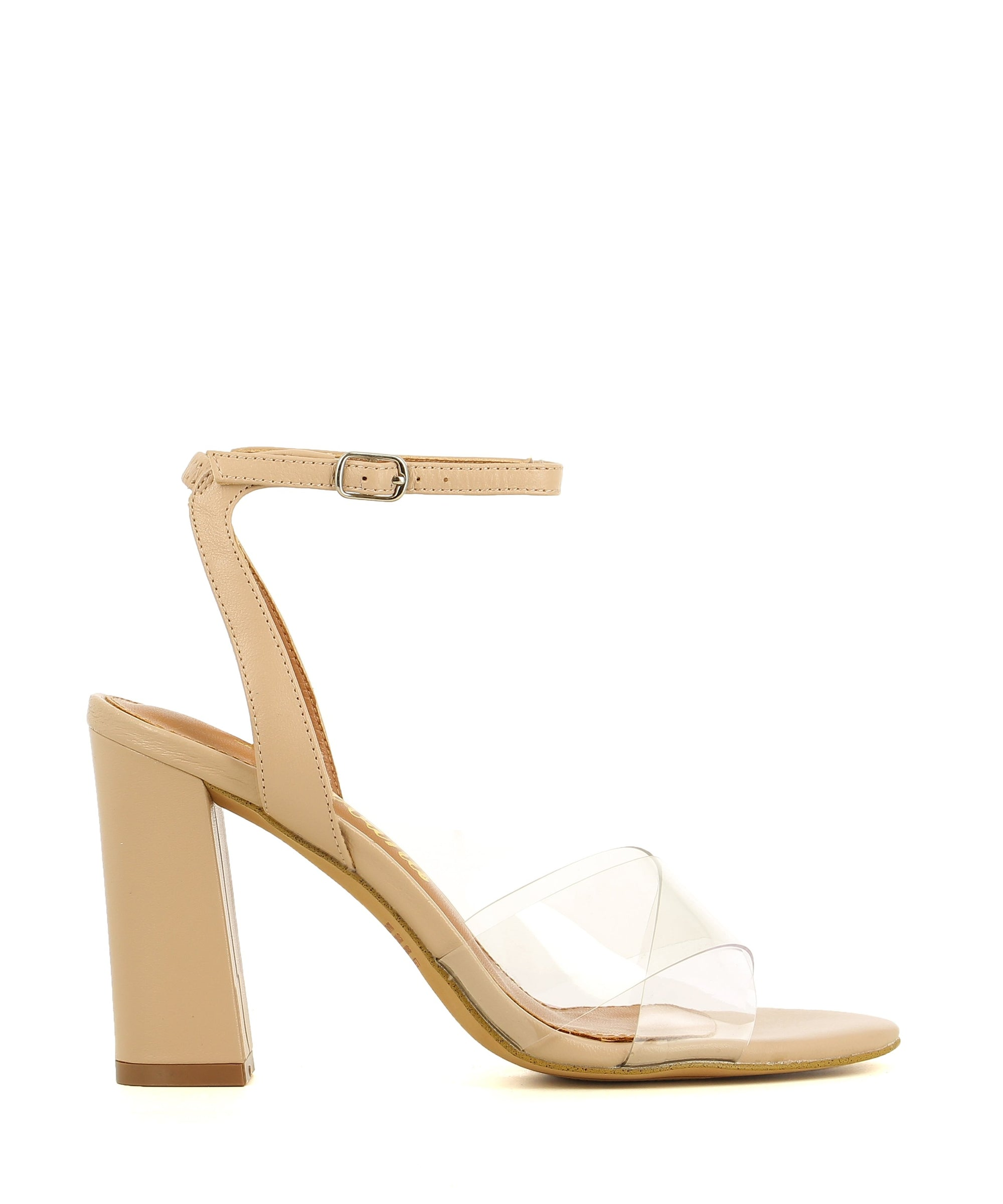 A clear nude high heeled sandal by Diavolina. The 'Moss' features an ankle strap with a buckle fastening, a transparent vinylite crossover upper and a soft round toe.