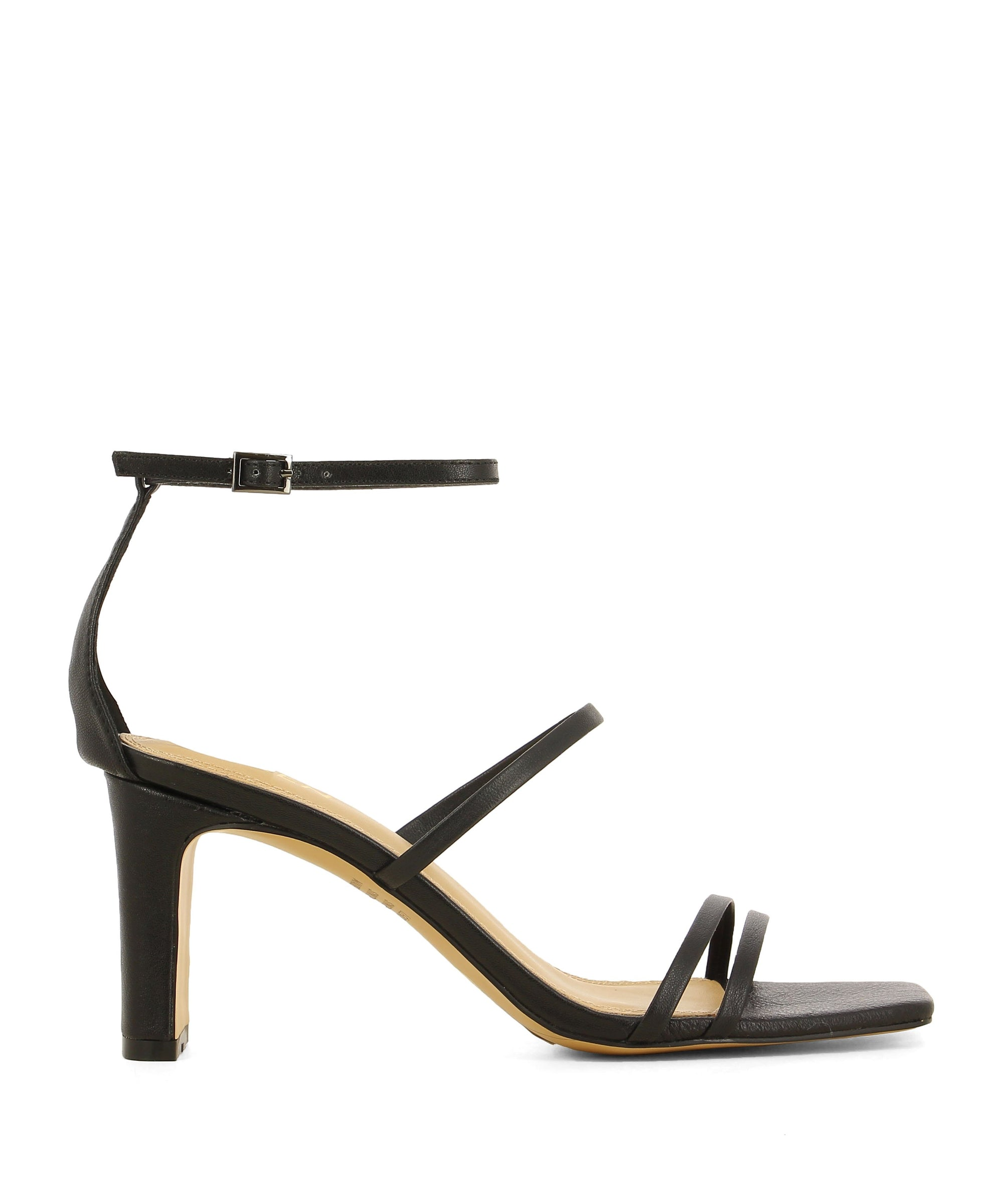 Black leather strappy heeled sandals that have an ankle strap with a silver buckle fastening and features a block heel and a square toe by Siren.