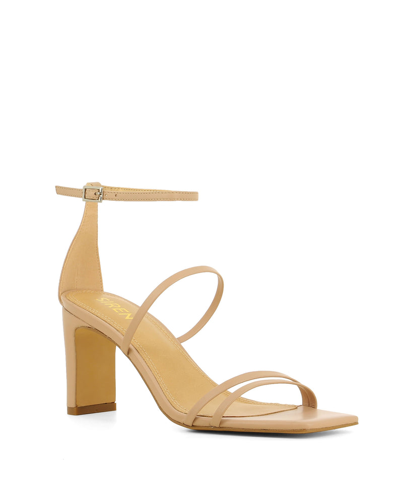 Taupe leather strappy heeled sandals that have an ankle strap with a silver buckle fastening and features a block heel and a square toe by Siren.