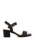 A black leather strappy heeled sandal that has an ankle strap with a gunmetal buckle fastening and features a block heel and a square toe by Siren.