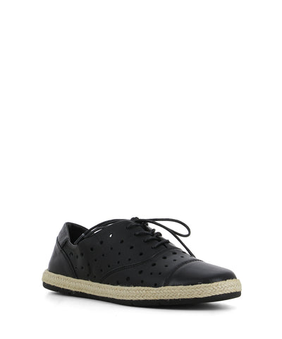 A sleek black leather sneaker that has lace up fastening, and feature a perforated upper, a braided jute trim and a round toe by Django & Juliette.