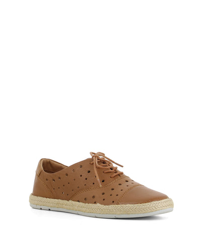 A sleek tan leather sneaker that has lace up fastening, and feature a perforated upper, a braided jute trim and a round toe by Django & Juliette.