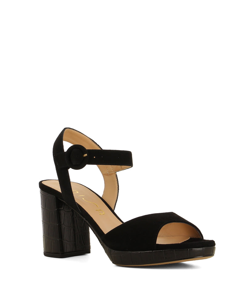Black suede platform sandals that have a buckle fastening and features a croc textured 8.5cm block heel a round toe by Unisa.
