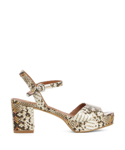 Brown and taupe snake print leather platform sandals that feature an ankle strap with a buckle fastening, a 2.5 cm platform sole and a round toe by Zomp.